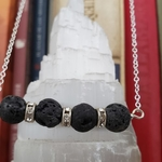 Lava rock aromatherapy diffuser necklace