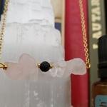 Rose quartz aromatherapy lava diffuser necklace