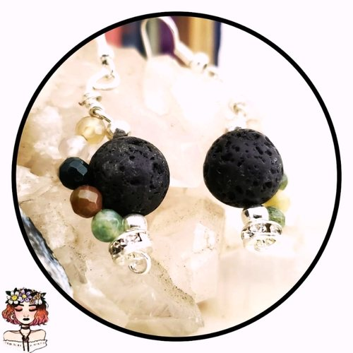 Agate aromatherapy lava diffuser earrings