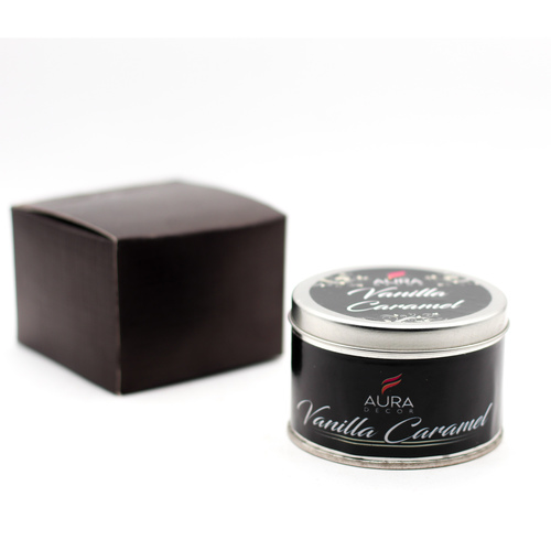 AuraDecor Vanilla Caramel Tin Candle