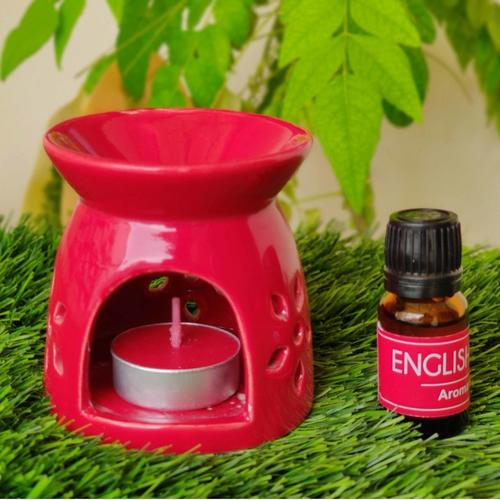 AuraDecor English Rose Gift Set with Aroma Oil & 2 Tealight Candles