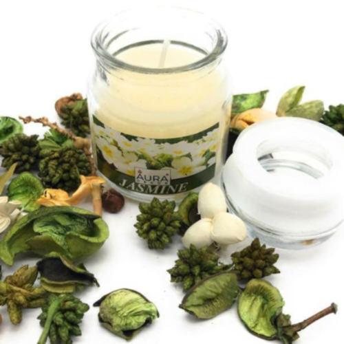 AuraDecor Jasmine Fragrance Jar Candle