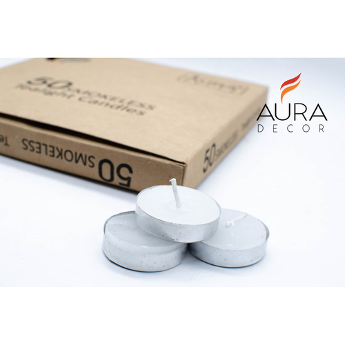 AuraDecor Pack of 50 Smokeless Tealight Candle Burning Time 2.5 hours approx
