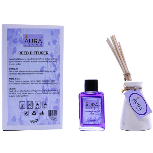 AuraDecor Reed Diffuser Gift pack with Diffuser Pot & 8 Reed Sticks & 30ml Reed Oil ( Lavender )