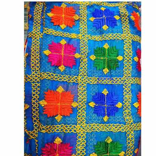 Light Blue Chiffon Phulkari Duppatta