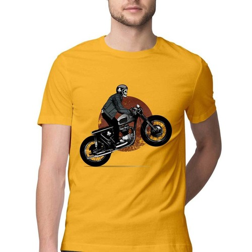 Skeleton Riding Bike Round Neck Tshirt
