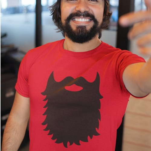 Mens Beard Print Round Neck Tshirt