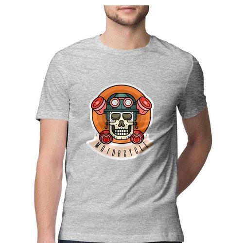 Skull Motorcycle Round Neck Tshirt