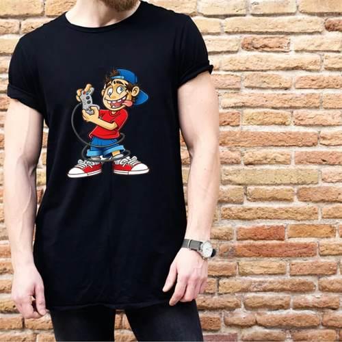Gameboy Print Round Neck Tshirt