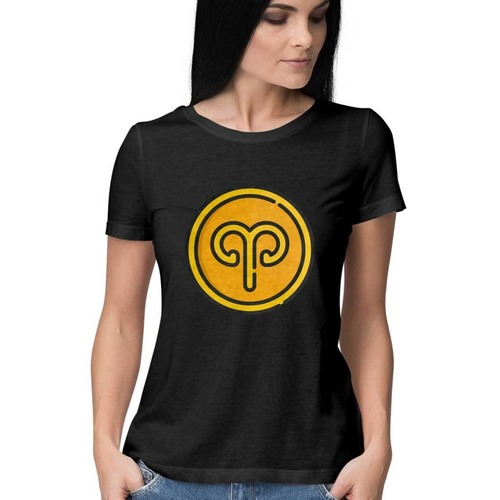 Women Aries Sign Round Neck Tshirt