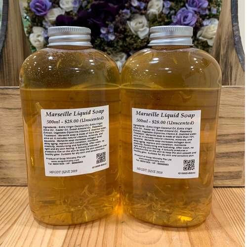 Marseille Liquid Soap Unscented 500ml - Liquid Castile Soap With Calendula Petal New Packaging