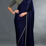 sequin work blouse with crepe saree