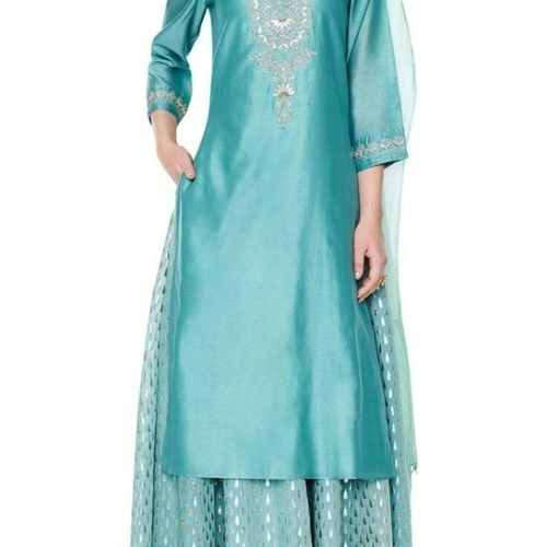 silk embroidered Kurta and sharara set