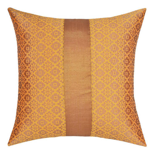 "KNL Yellow Brocade Jharokha Cushion Cover 12""x12"" Size"