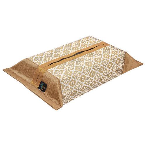 KNL White Brocade Jharokha Tissue Box Cover