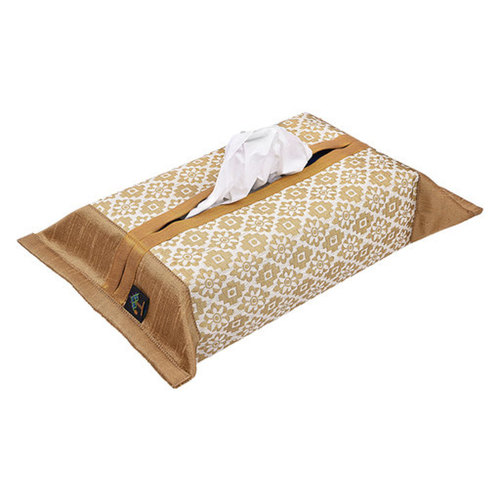 KNL White Brocade Jharokha Tissue Box Cover