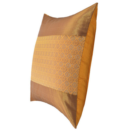 "KNL Yellow Brocade Jharokha Cushion Cover 16""x16"" Size"