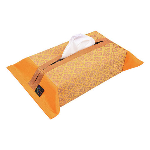 KNL Yellow Brocade Jharokha Tissue Box Cover