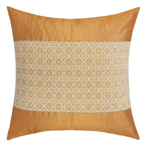 KNL White Brocade Jharokha Cushion Cover 16x16 Size