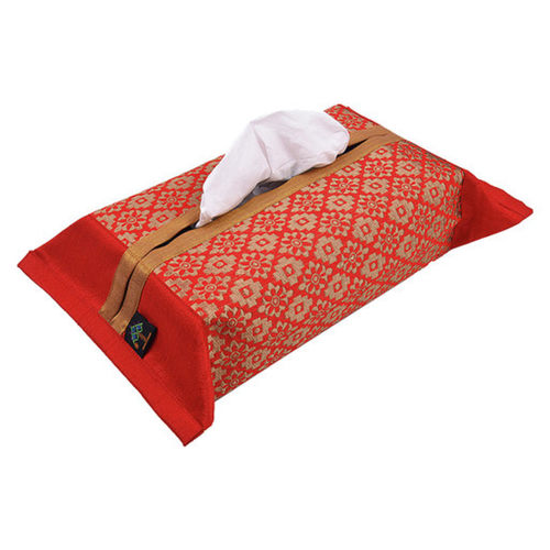 KNL Red Brocade Jharokha Tissue Box Cover