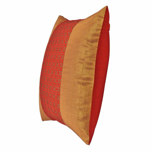"KNL Red Brocade Jharokha Cushion Cover 16""x16"" Size"