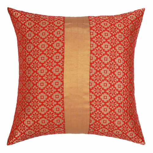 "KNL Red Brocade Jharokha Cushion Cover 12""x12"" Size"