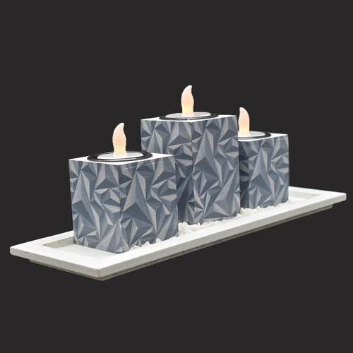 Set Of 3 Led Ceramic Candle Holder For Home Decor