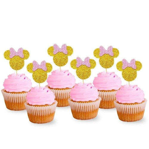 Golden Minnie Mouse Cupcake Toppers - Pack of 12