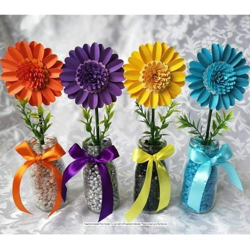Glass Bottle Sunflower Table Centers