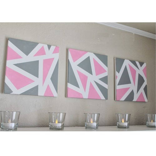 Pink & Grey Geometric Pattern Painting - Pack of 3