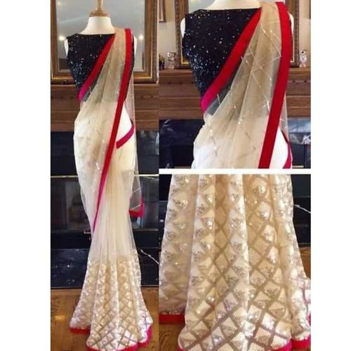 Nylon Net Embroidered Designer Sarees