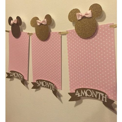 Pink & Gold Minnie Mouse Photo Garland