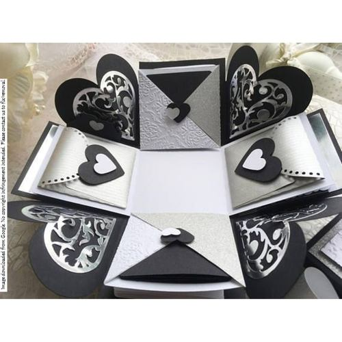 Black & Silver Heart Explosion Box