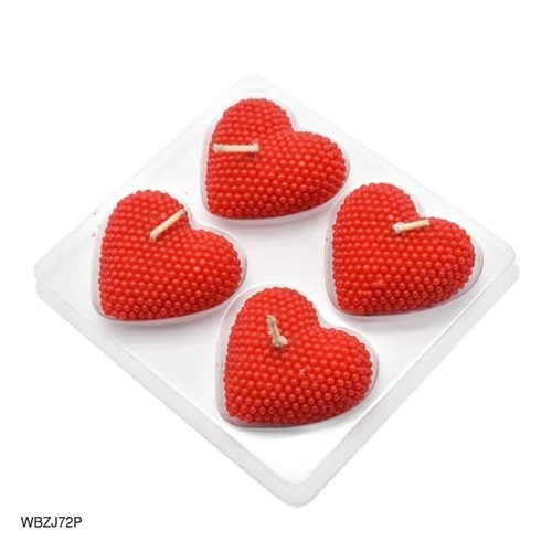 Heart Shaped Wax Candle In Red- Set Of 4