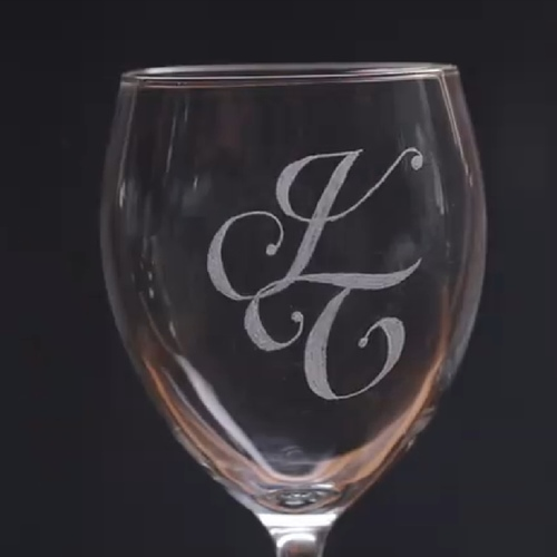 Initials Engraved Wine Glasses - Set of 2