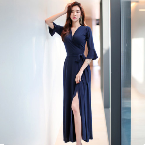 Kimono Wrap Tie Maxi Slit Dress