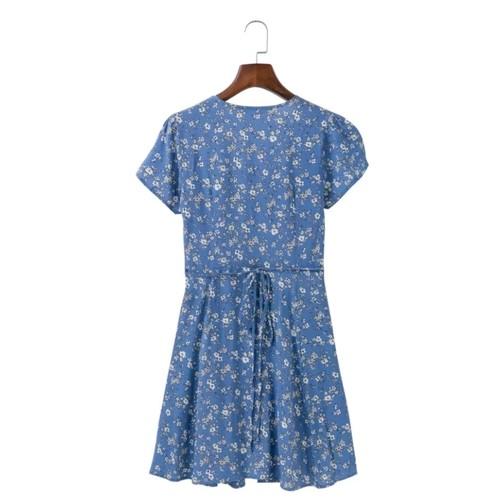 Floral Kimono Tie Dress (Blue) * Backorder