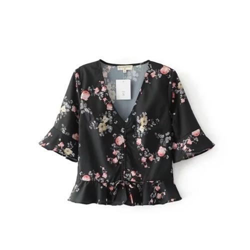 Floral Waist Tie Top