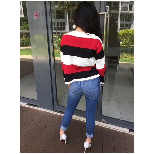 Stripes Knitted Top (Red)