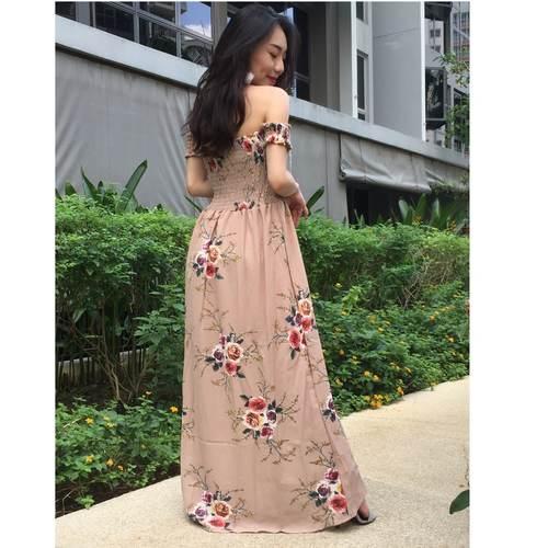 Floral Off Shoulder Maxi Dress (Nude)
