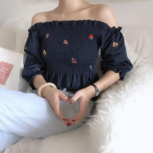 Floral Embroidery Off Shoulder (Navy Blue)
