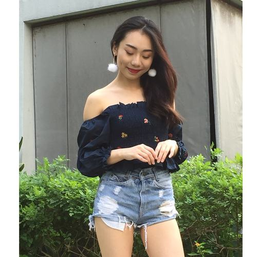 Floral Embroidery Off Shoulder (Navy Blue)