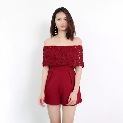Arissa Crochet Tube Romper (Red)