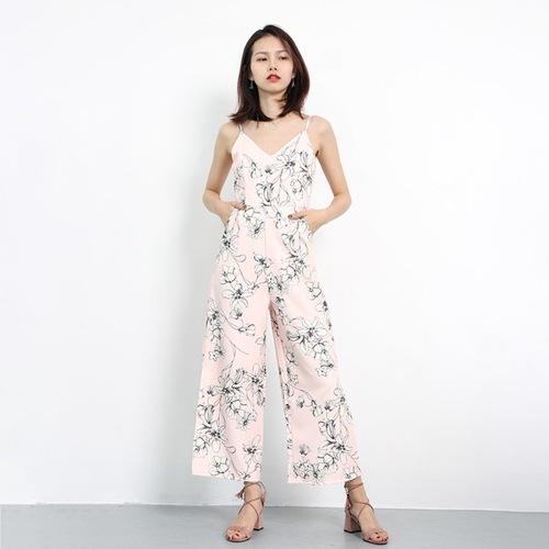 Floral Slit Jumpsuits