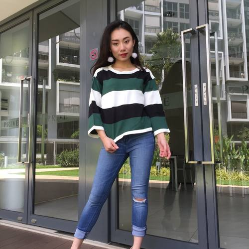 Stripes Knitted Top (Green)