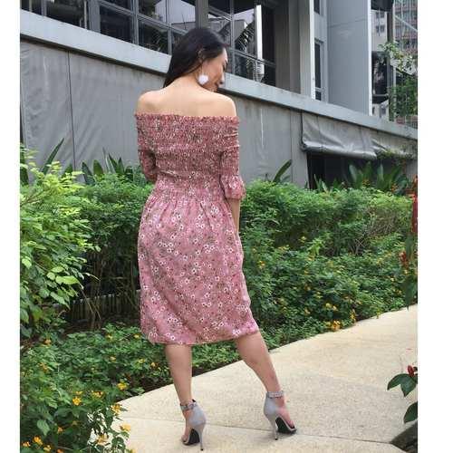 Floral Offsie Midi Dress (Pink)