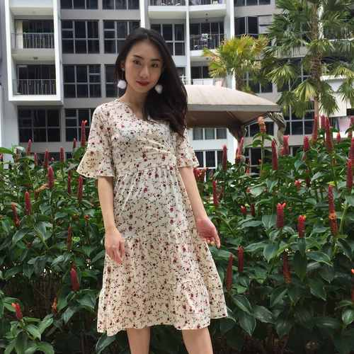 Floral Mid Sleeve Dress (Cream)