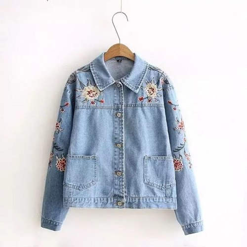 Floral Embroidery Denim Jacket