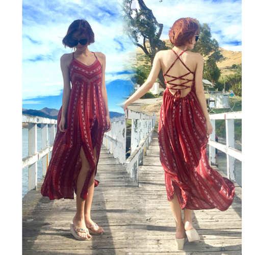 Tribal Mid Slit Maxi Dress