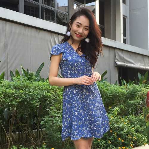 Floral Kimono Tie Dress (Blue) * Backorder